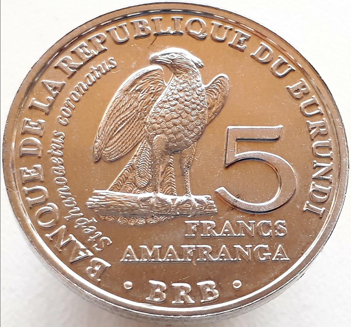 Бурунди 5 франков 2014 - Венценосный орёл