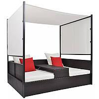 Двойной диван с навесом, полират vidaXL бронза, фото 1