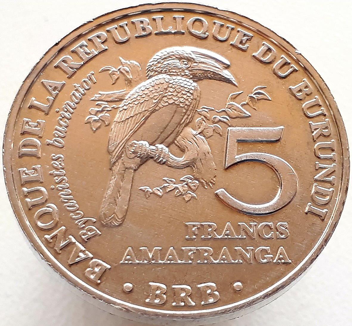 Бурунди 5 франков 2014 - Калао-трубач