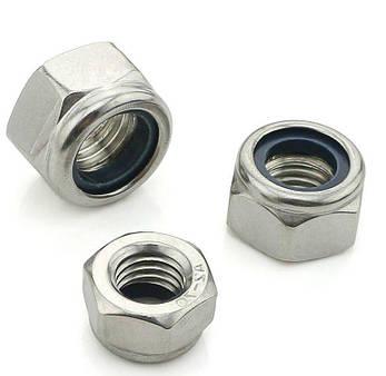 Гайка нержавеющая М16 DIN 985, ISO 10511 низкая самоконтрящаяся с нейлоновым кольцом, фото 2