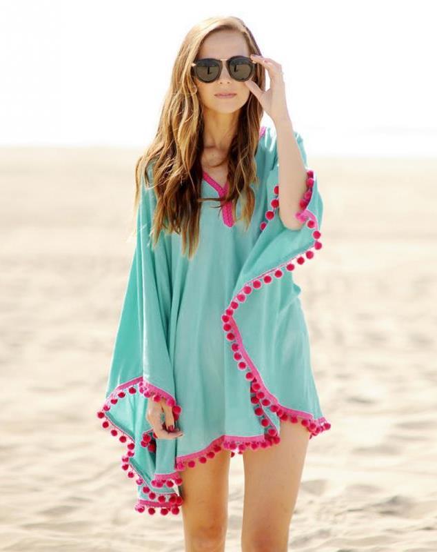Пляжная туника солнце из шифона голубая Д-079