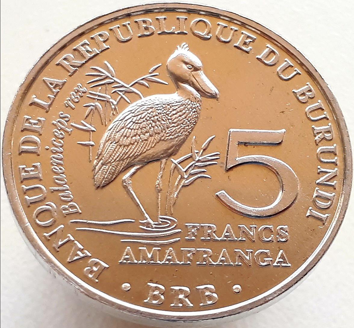 Бурунди 5 франков 2014 - Королевская цапля