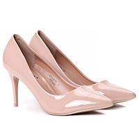 Лаковые женские стильные туфли по доступной цене на каблуке