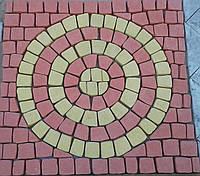 Плитка тротуарная копия брусчатки.    Камни 100*100мм связанные в рисунок (пласт) «Круг» 40мм