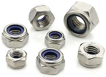 Гайка нержавеющая М22 DIN 985, ISO 10511 низкая самоконтрящаяся с нейлоновым кольцом, фото 2