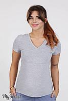 Облегающая футболка для беременных и кормящих IVANNA, серый меланж*, фото 1