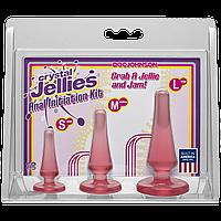 Набор анальных пробок Doc Johnson Crystal Jellies Anal Initiation Kit - Pink