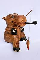 Статуэтка Бегемот  рыбак деревянная размер 20*12*10, фото 1