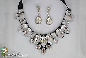 Набор Колье и серьги прозрачные Ожерелье крылья камни белые Шарм кольэ сережки комплект прозрачное черное