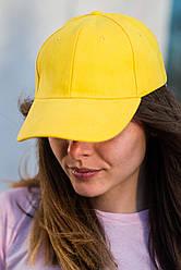 Кепка желтая, шестиклинка, для спорта, отдыха, 100 % хлопок, унисекс, регулируемая ширина.