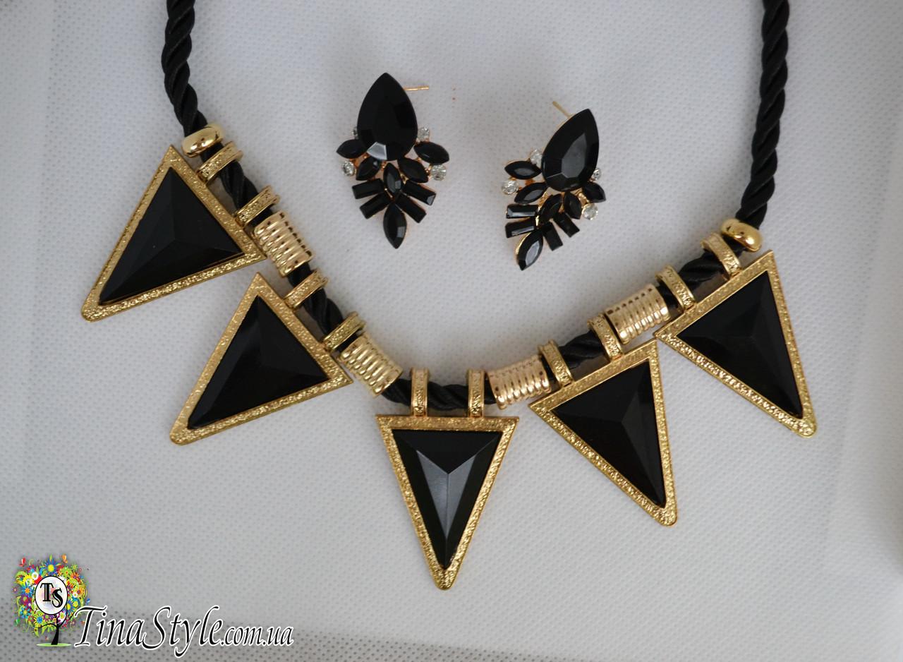 Набор Колье и серьги Треугольники Геометрия Черное черные цвет камни кристаллы кольэ комплект Ожерелье сережки