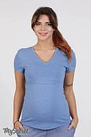 Облегающая футболка для беременных и кормящих IVANNA, синий меланж 1, фото 1