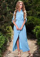 Длинное платье рубашка голубого цвета