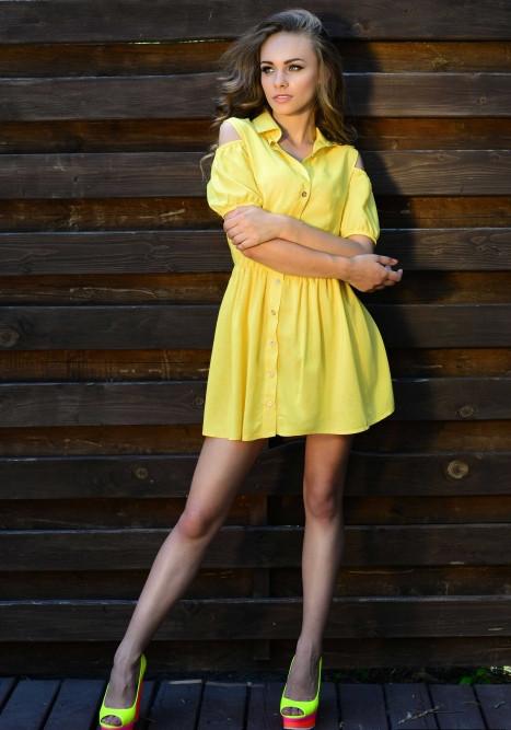 a7d4184ff1d Платье рубашка желтого цвета - KORSETOV - Магазин женской одежды и белья в  Киеве