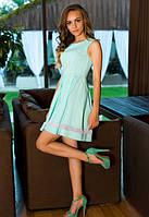 Мятное летнее платье с пышной юбкой