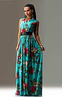 Красивое платье макси из шифона с кожаным поясом