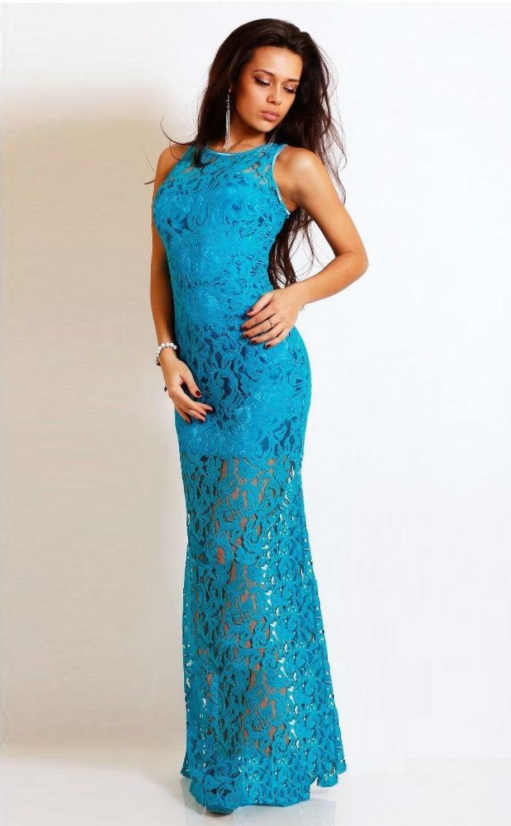 Ажурное платье в пол без рукавов голубое