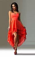 Коралловое вечернее платье с укороченным передом