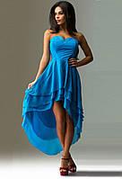 Голубое вечернее платье с укороченным передом