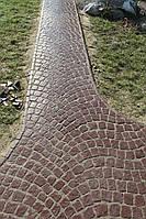 Плитка тротуарная копия брусчатки.    Камни 100*100мм связанные в рисунок (пласт) «Веер» 20мм