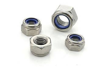 Гайка нержавеющая М30 DIN 985, ISO 10511 низкая самоконтрящаяся с нейлоновым кольцом, фото 2