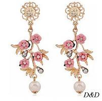 Серьги в стиле Dolce&Gabbana розовые