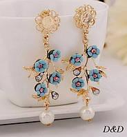Серьги цветы  в стиле Dolce&Gabbana синие