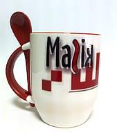 Чашки с ложками, печать