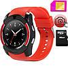 Смарт часы SMART WATCH V8 red, MicroSIM Bluetooth microSD
