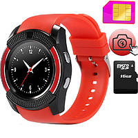 Смарт часы SMART WATCH V8 red, MicroSIM Bluetooth microSD, фото 1