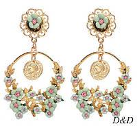 Серьги цветы в стиле Dolce&Gabbana мятные