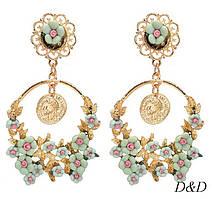 Серьги в стиле Dolce&Gabbana мятные