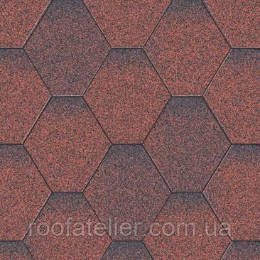 Битумная черепица Акваизол Мозаика Красный Микс