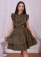 Летнее хлопковое платье цвет хаки