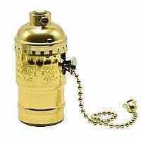 Патрон алюминиевый с выключателем цепочка  [ Gold ]