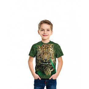3D футболка для мальчика The Mountain р.M 7-10 лет футболки детские с 3д рисунком (Величественный Леопард), фото 2