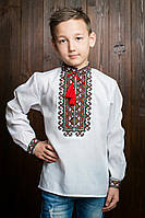 Детская рубашка с вышивкой на груди и на манжетах (0905/5)