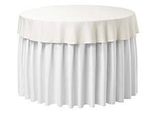 Фуршетна спідниця з липучкою 4,80/0,72 Біла для столу діаметром 150см Стандартної висоти, фото 2