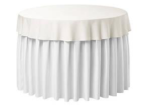Фуршетна спідниця з липучкою 2,60/0,72 Біла для столу діаметром 80см Стандартної висоти, фото 2