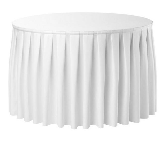 Фуршетная юбка с липучкой 4,80/0,72 Белая для стола диаметром 150см Стандартной высоты