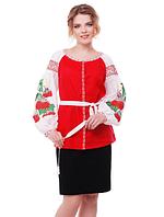 """Блуза з вишивкою натуральний льон """"Чарівна калина"""" розміри в наявності, фото 1"""