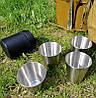 Туристический набор стаканов в кожанном чехле из 4шт