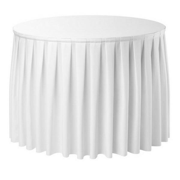 Фуршетная юбка с липучкой 2,60м Белая для стола диаметром 80см