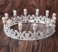 Свадебные украшения для королев. Круглые короны, бижутерия оптом. 91