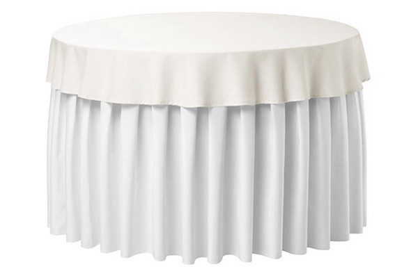 Фуршетная юбка с липучкой 5,10м Белая для стола диаметром 160см