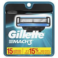 СМЕННЫЕ КАССЕТЫ ДЛЯ БРИТЬЯ GILLETTE MACH 3 15, Три, Gillette, США, фото 1