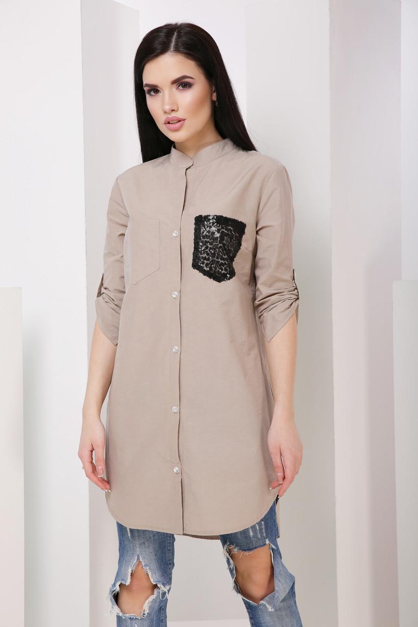 137f08b286e Стильная женская хлопковая длинная рубашка с рукавом 3 4 7029 7 - My Oazis