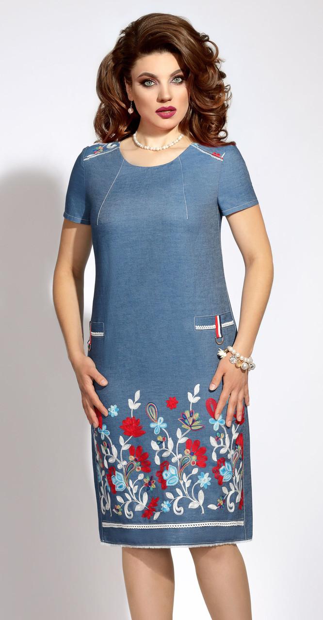 abbd34fae40b Платье Vittoria Queen-5813 белорусский трикотаж, джинс, 48 -