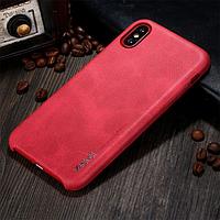 Чехол-Накладка для Apple iPhone X, X-Level Vintage, Кожаный, RED