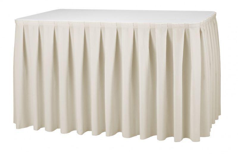 Фуршетная юбка с липучкой 4,10/0,72 Белая для стола 80х120см Стандартной высоты